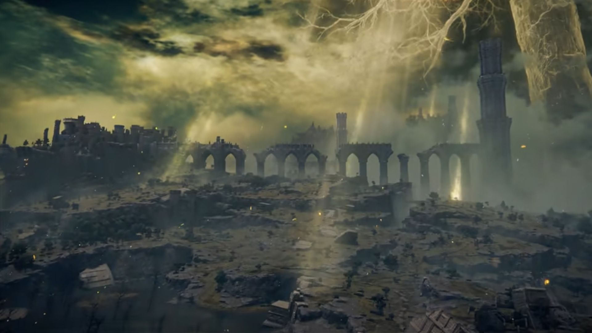 Cenário de Elden Ring destruído