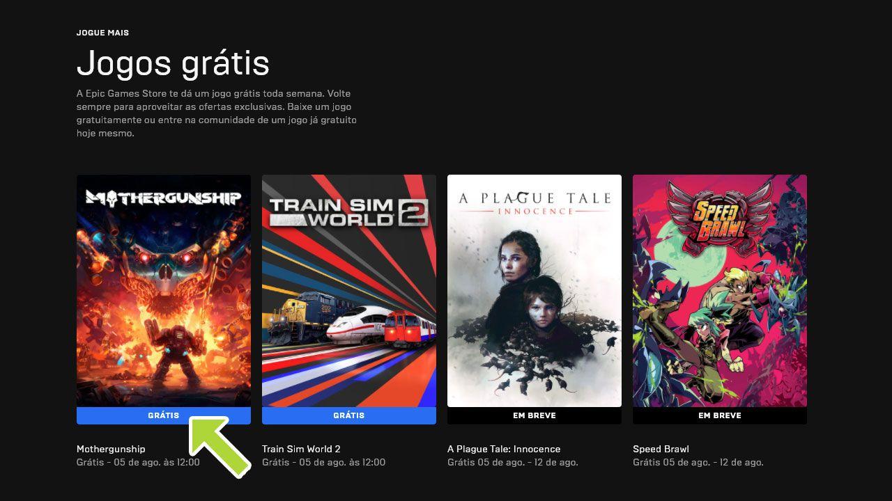 Catálogo da Epic Games com quatro jogos disponíveis