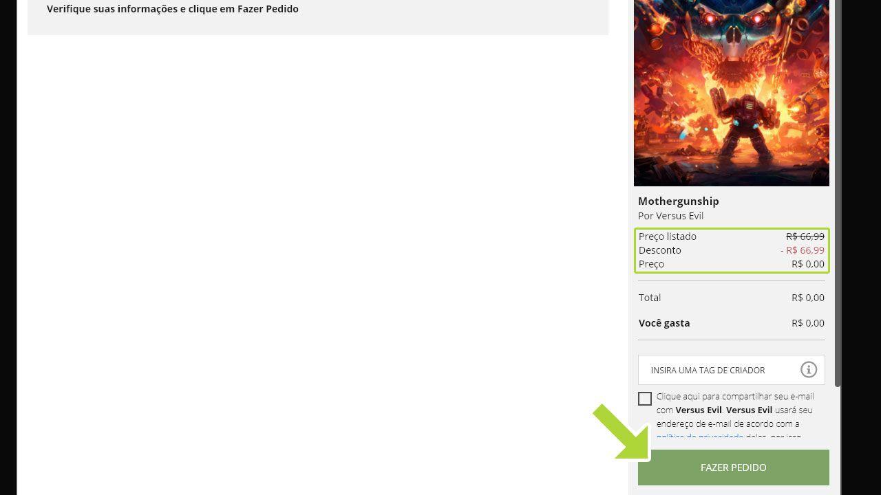Finalização de pedido de jogo gratuito na Epic Games