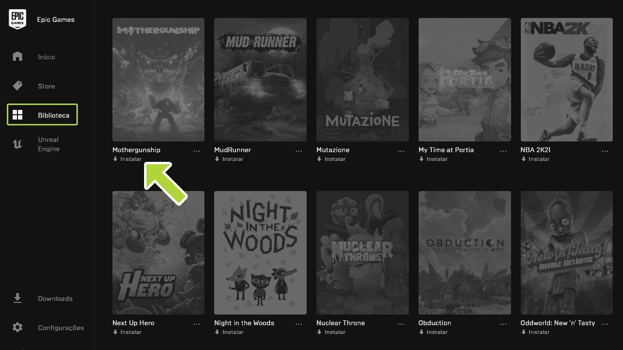 captura de tela de biblioteca de jogos grátis da Epic Games Store