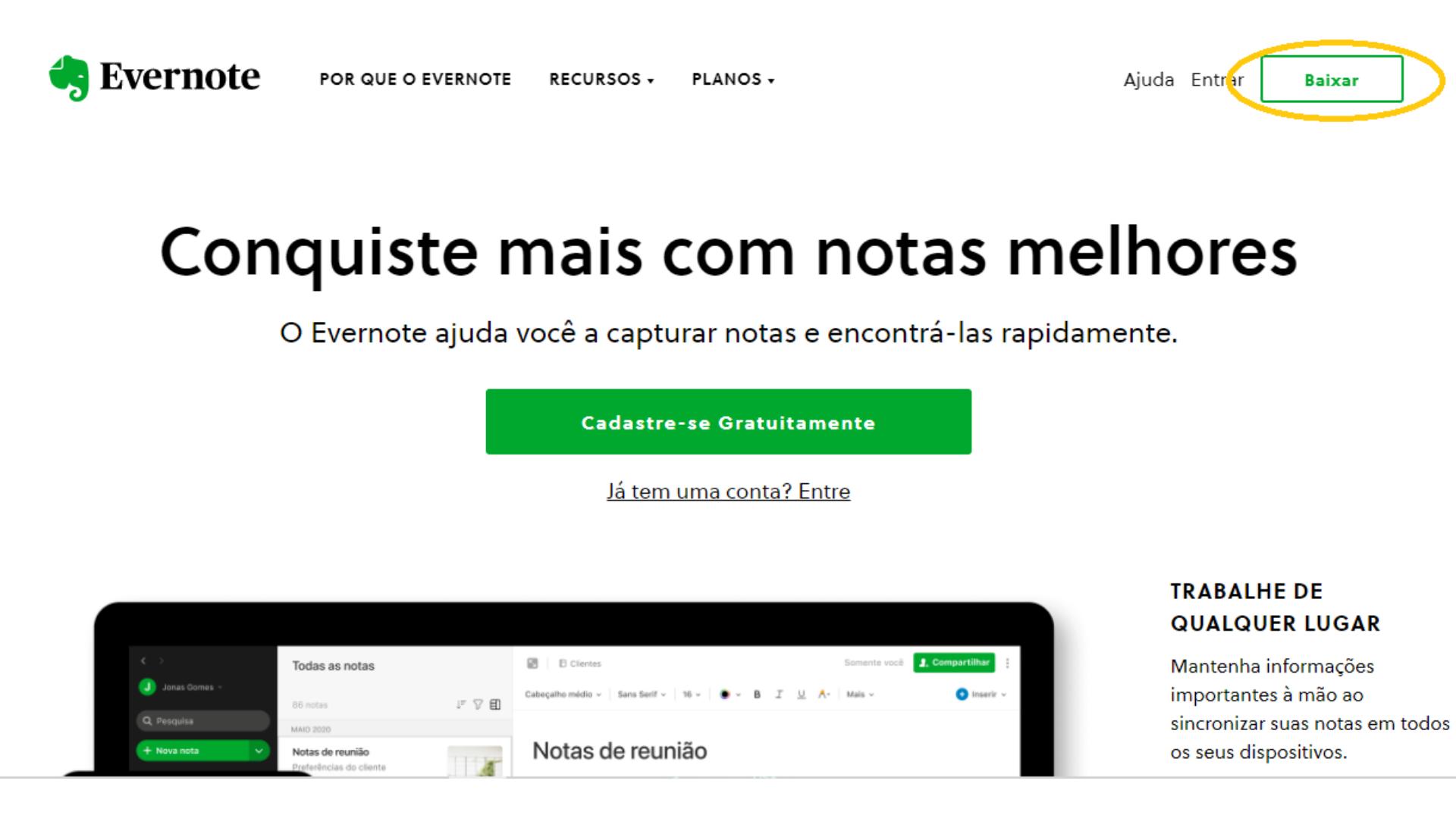 Print do Evernote Web, a versão para desktop do aplicativo