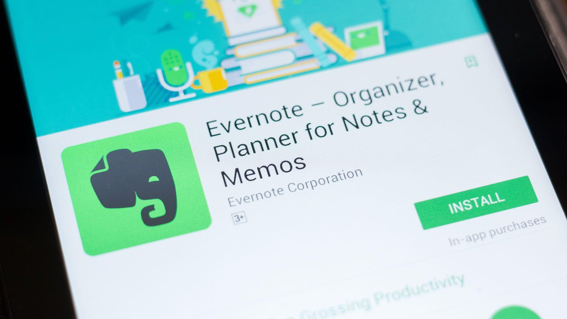 Tela do Evernote para download na biblioteca de aplicativos de um celular