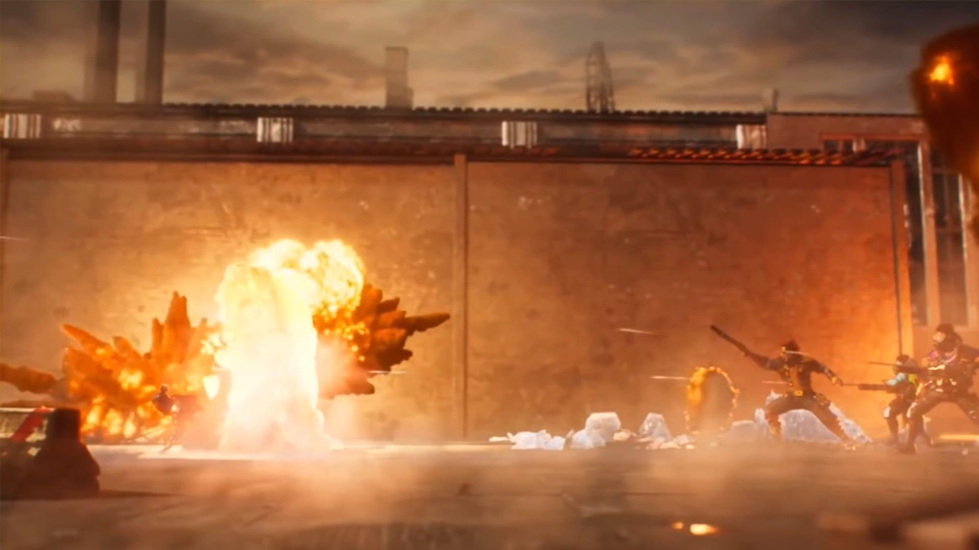 Personagens do Free Fire Max causando explosões
