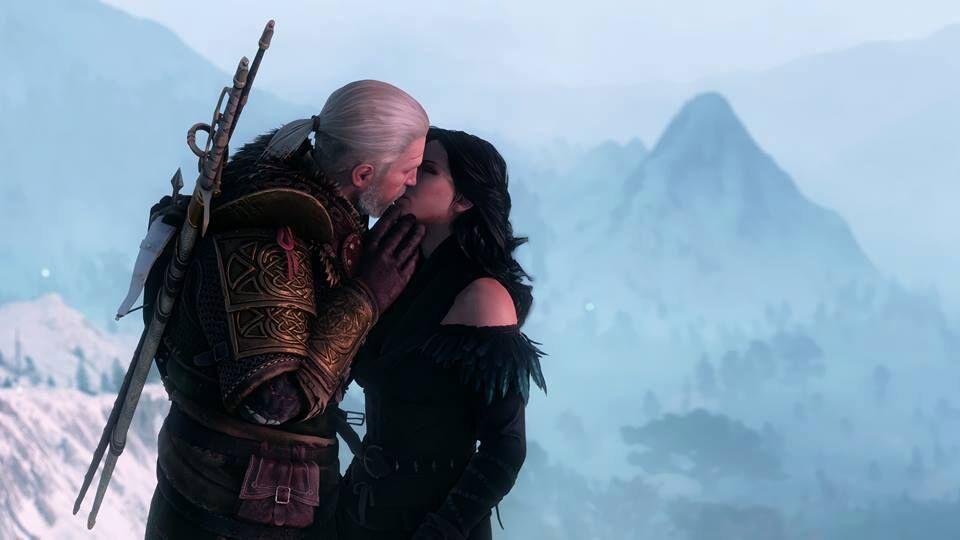 No game The Witcher 3, Yennefer de Vengerberg é beijada nos lábios por Geralt de Rivia