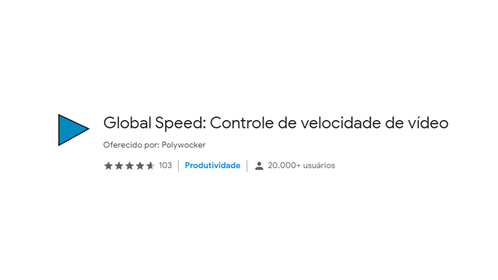Foto mostra ícone do aplicativo Global Speed para Chrome Web Store