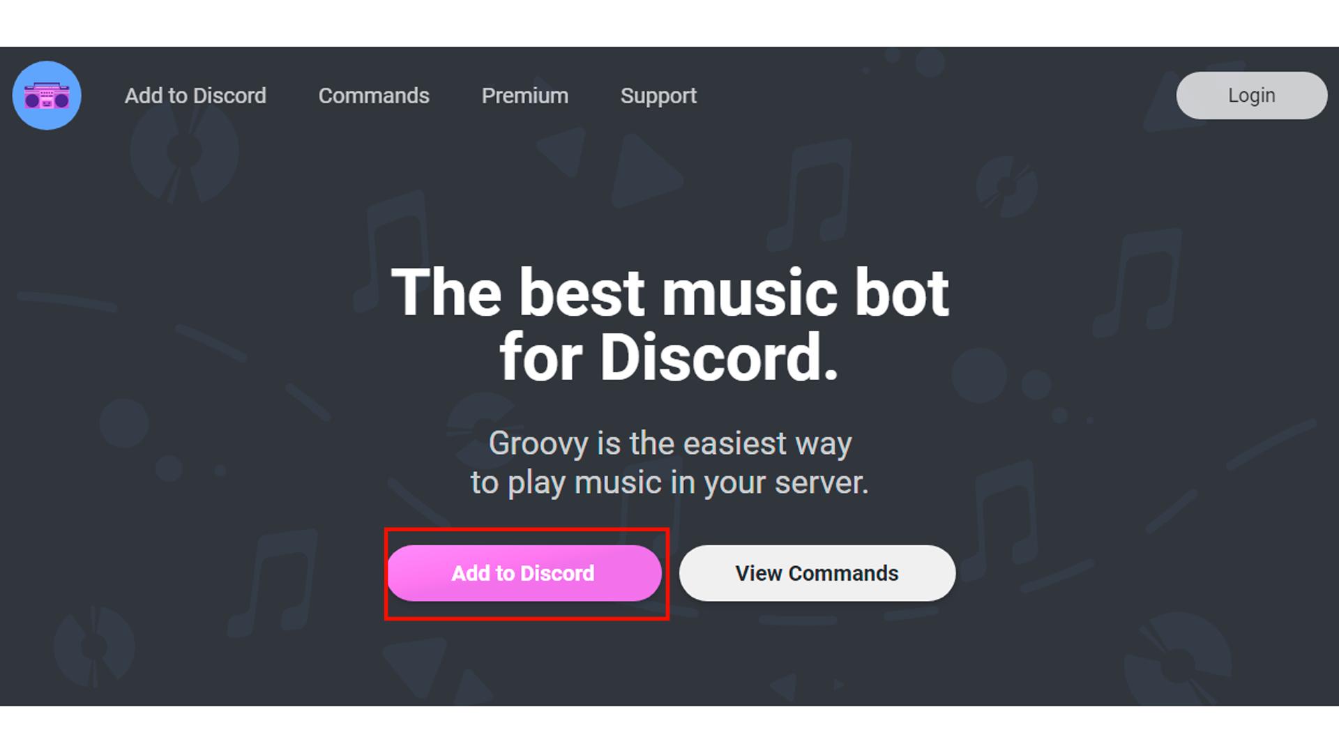 Clique em Add to Discord para instalar o bot Groovy (Foto/Hugo Iwaasa)