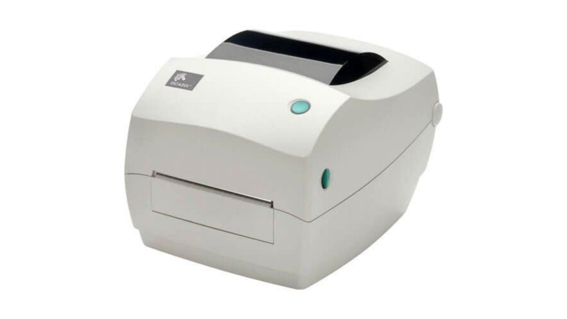 Impressora térmica Zebra GC420T em fundo branco.