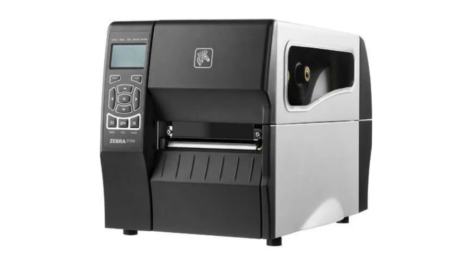 Impressora térmica industrial Zebra ZT230 em fundo branco.