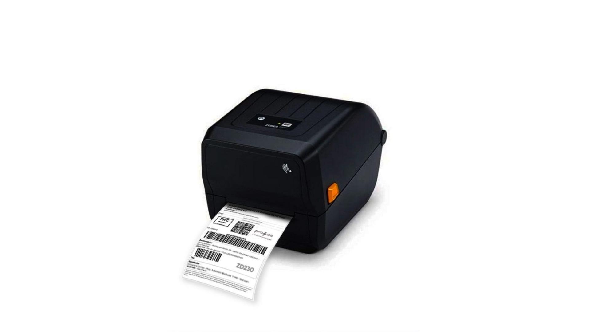 Impressora Zebra ZD230 imprimindo etiqueta.
