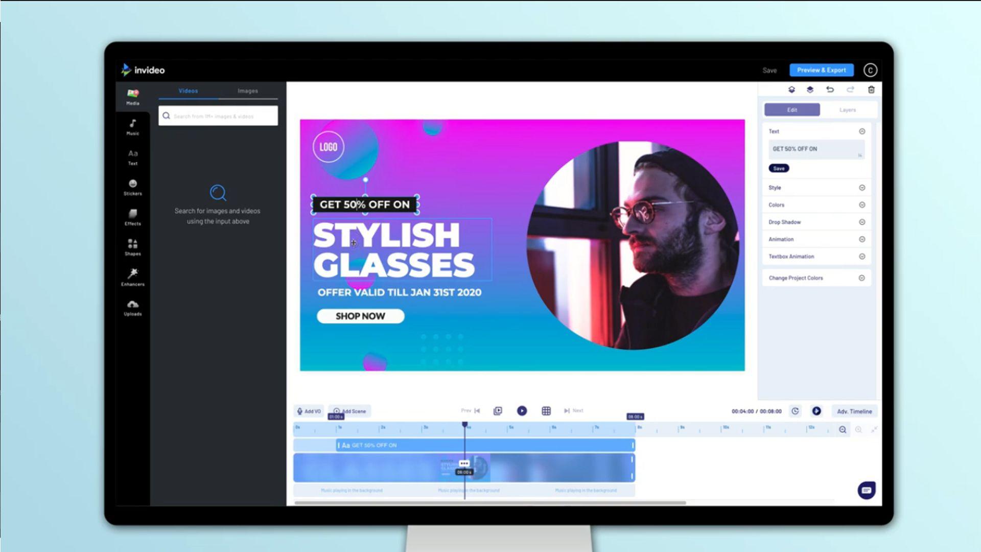 Monitor mostra aplicativo de edição de vídeo online InVideo