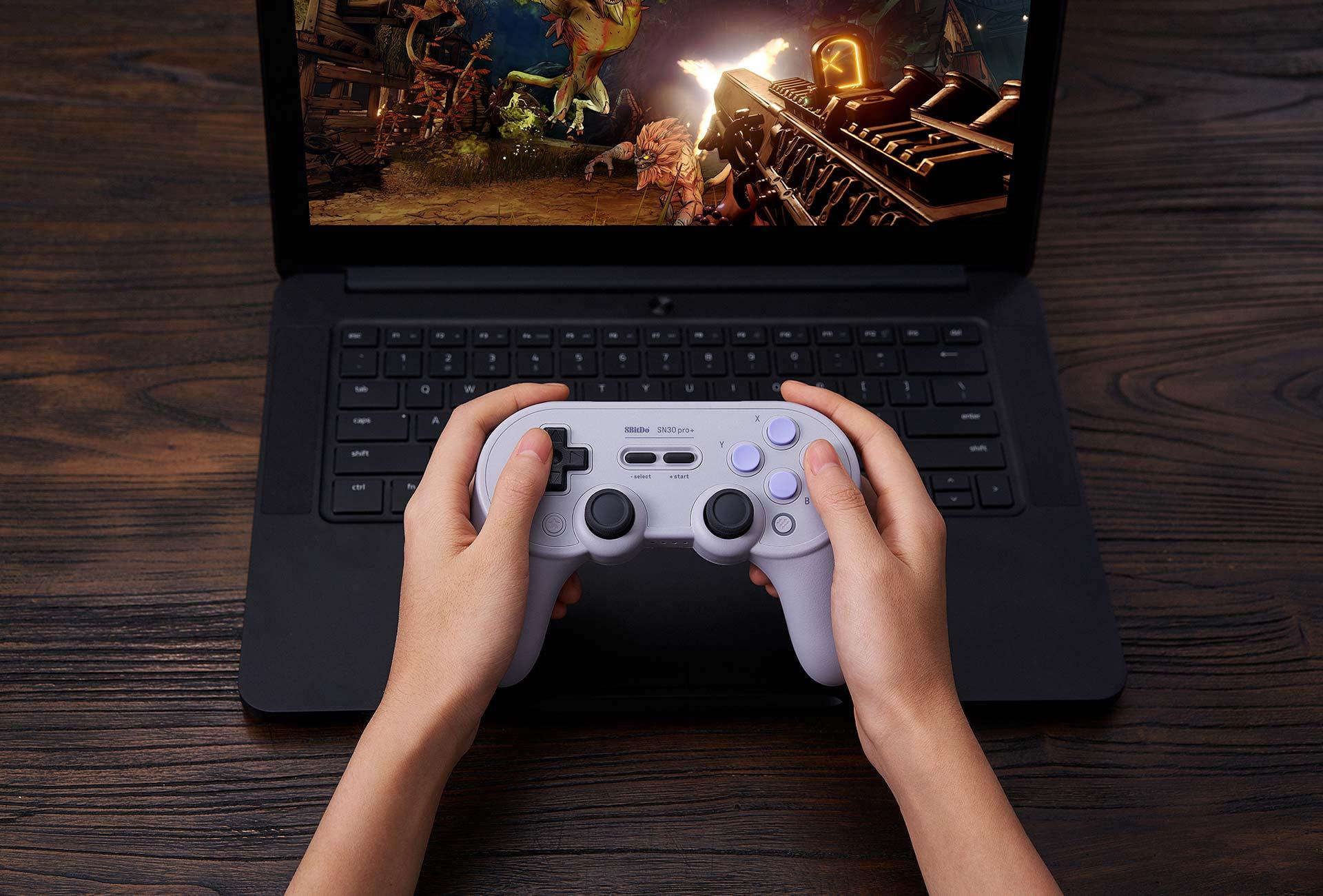O SN30+ da 8bitDo é um controle Bluetooth inspirado no clássico Super Nintendo e pode ser usado no PC ou no Nintendo Switch (Fonte: Divulgação/8bitDo)