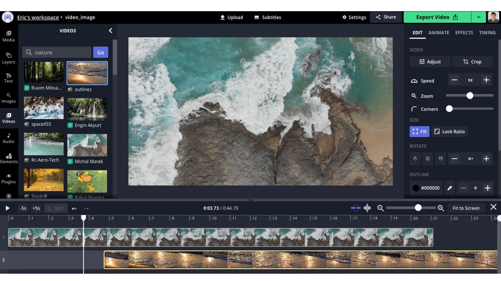 Captura da tela de edição do editor de vídeo online Kapwing