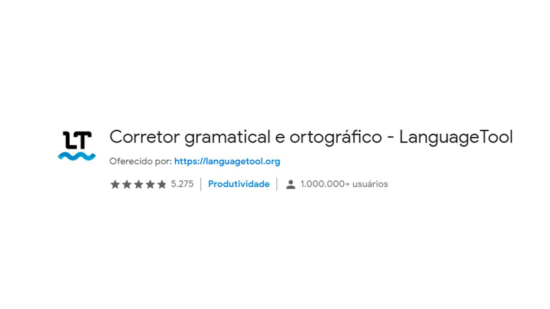 Foto mostra ícone do aplicativo Language Tool no Chrome Web Store