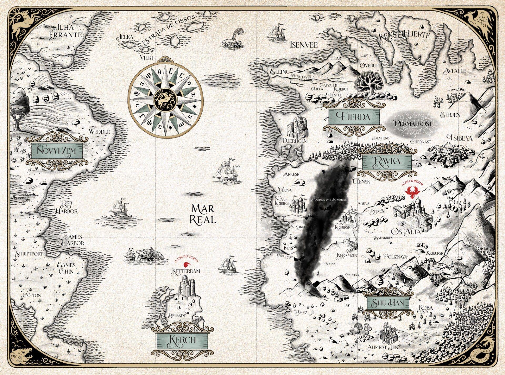 A Netflix publicou um mapa do território de Ravka e dos países vizinhos (Foto: Twitter @NetflixBrasil)