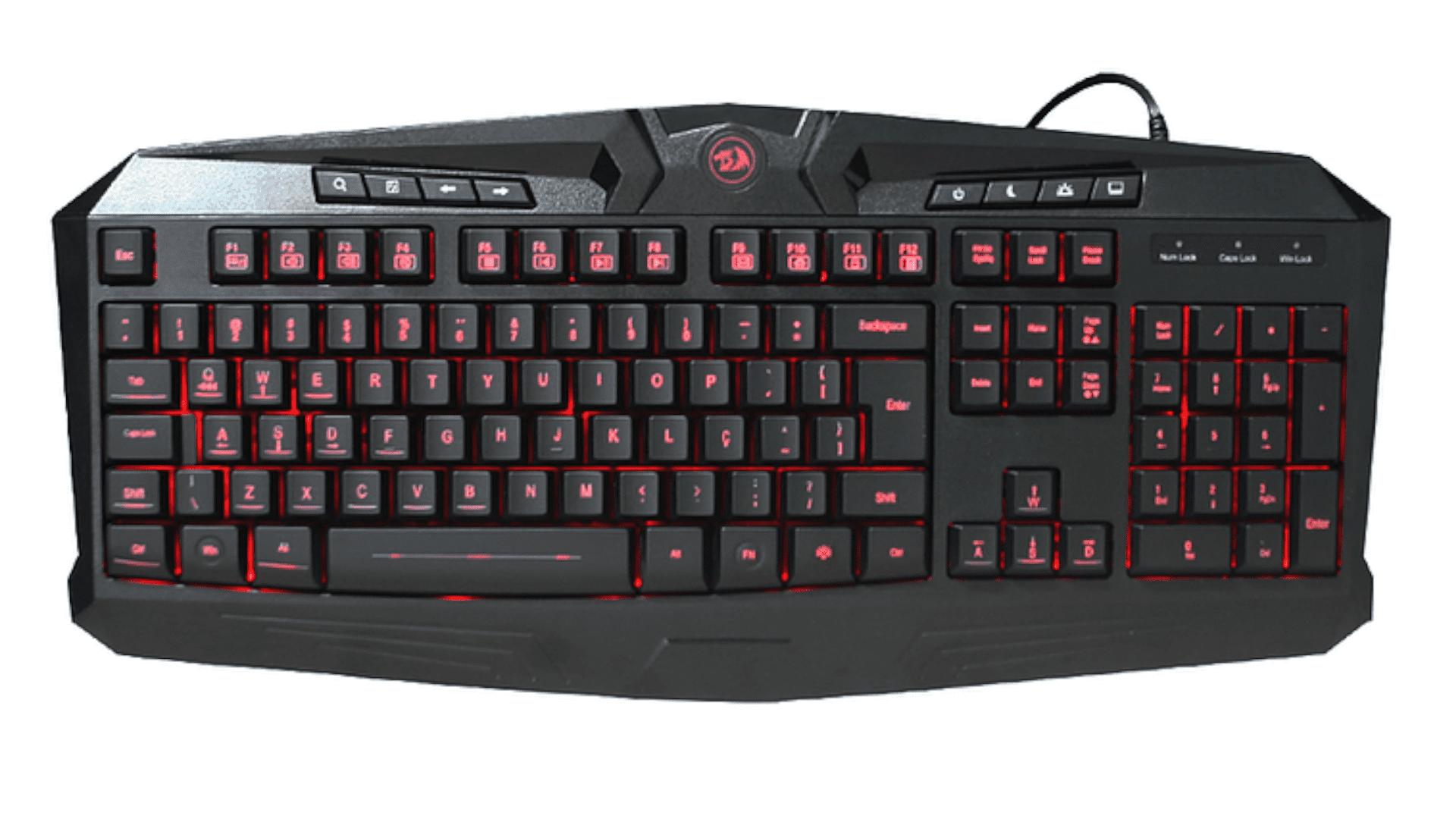 Teclado gamer Redragon Harpe K503 RGB preto com iluminação vermelha