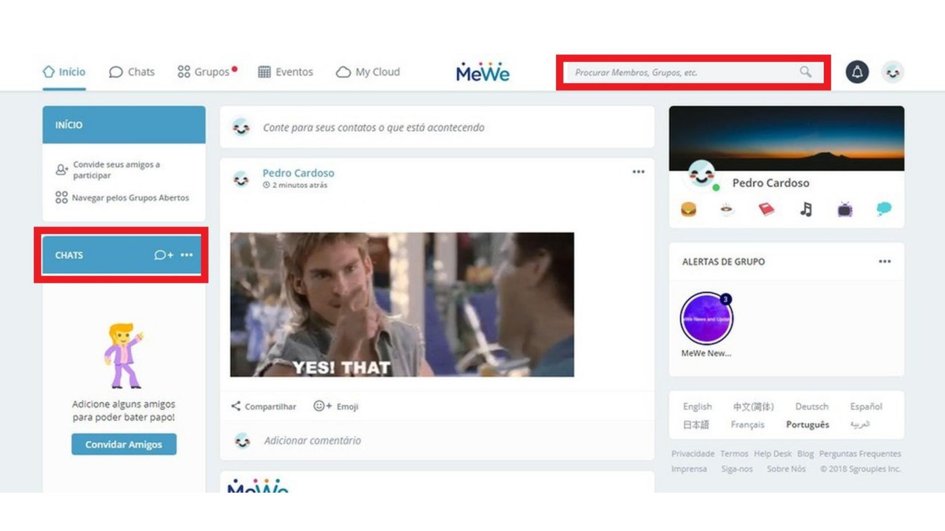 """Print da homepage da MeWe, com as áreas """"Chats"""" e a barra de pesquisa destacadas em vermelho."""