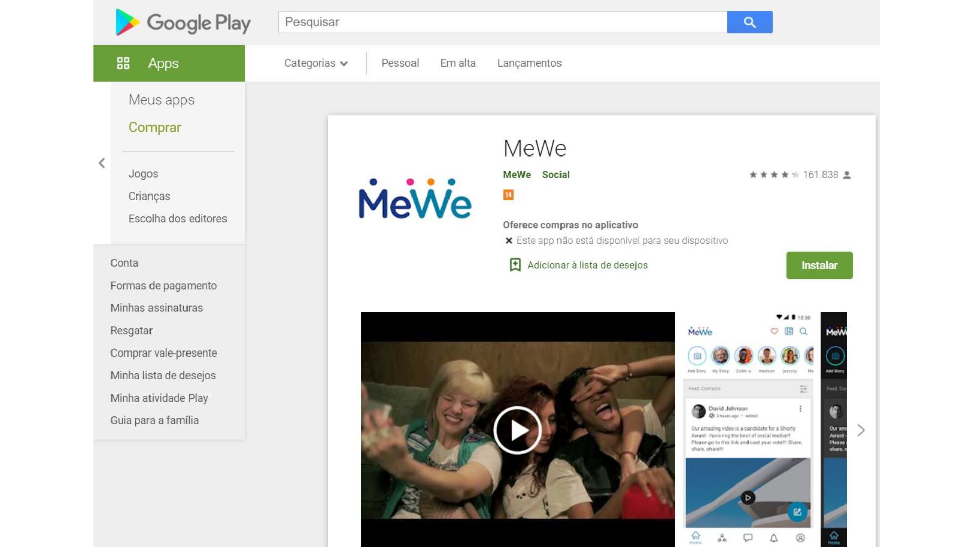 Print da MeWe para download na Google Play Store, a biblioteca de aplicativos.