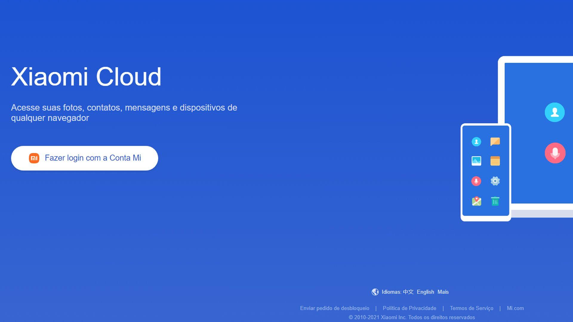 Acessando o site Mi. (Imagem: Reprodução/Mi Cloud)