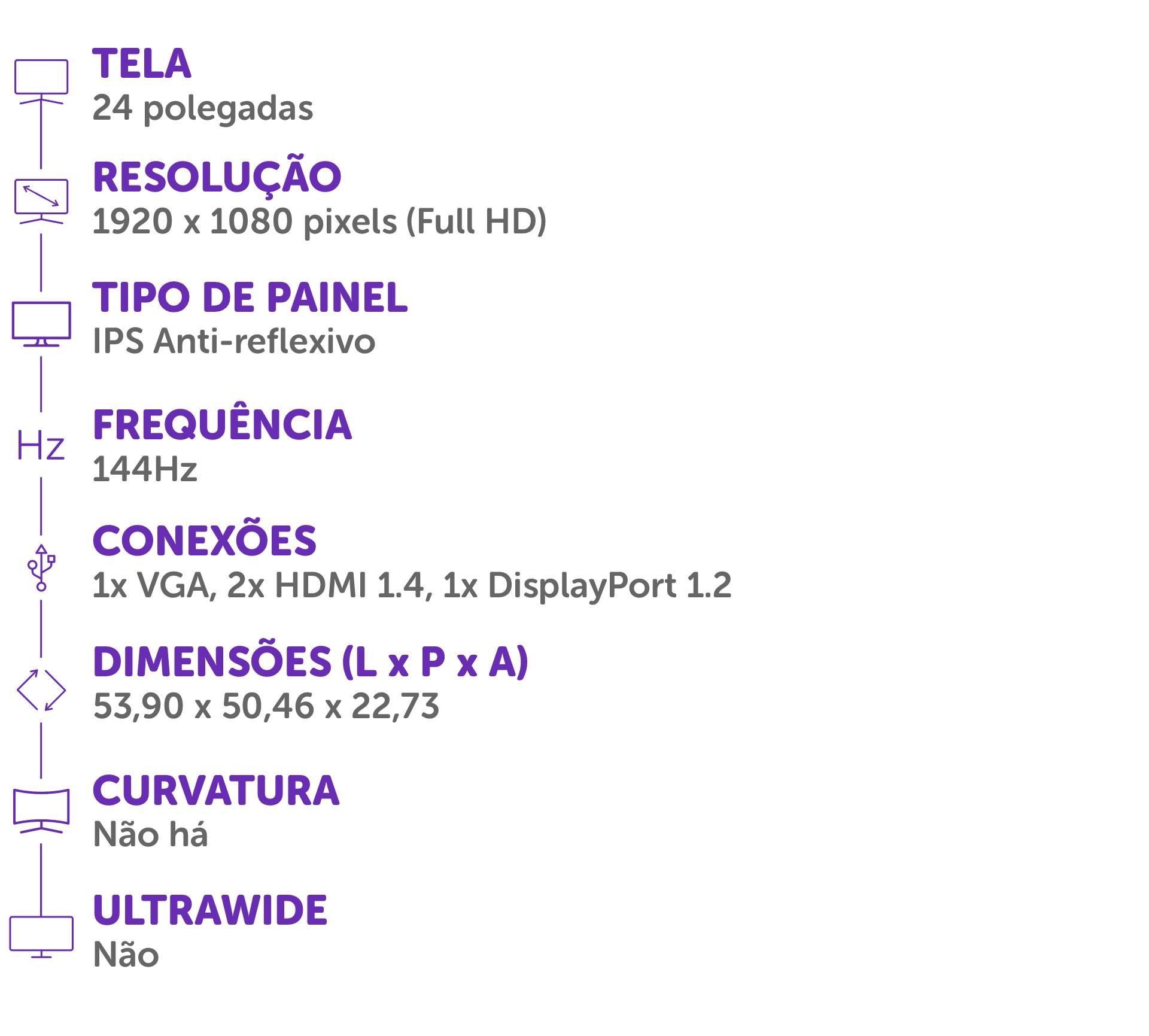 Ficha técnica com informações do monitor AOC 24G2