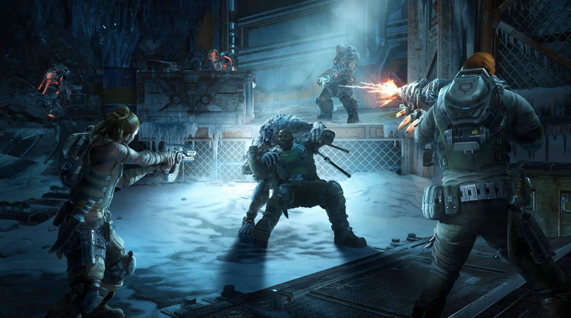 Ilustração do jogo de tiro Gears 5, onde um grupo de soldados troca tiros com seres monstruosos