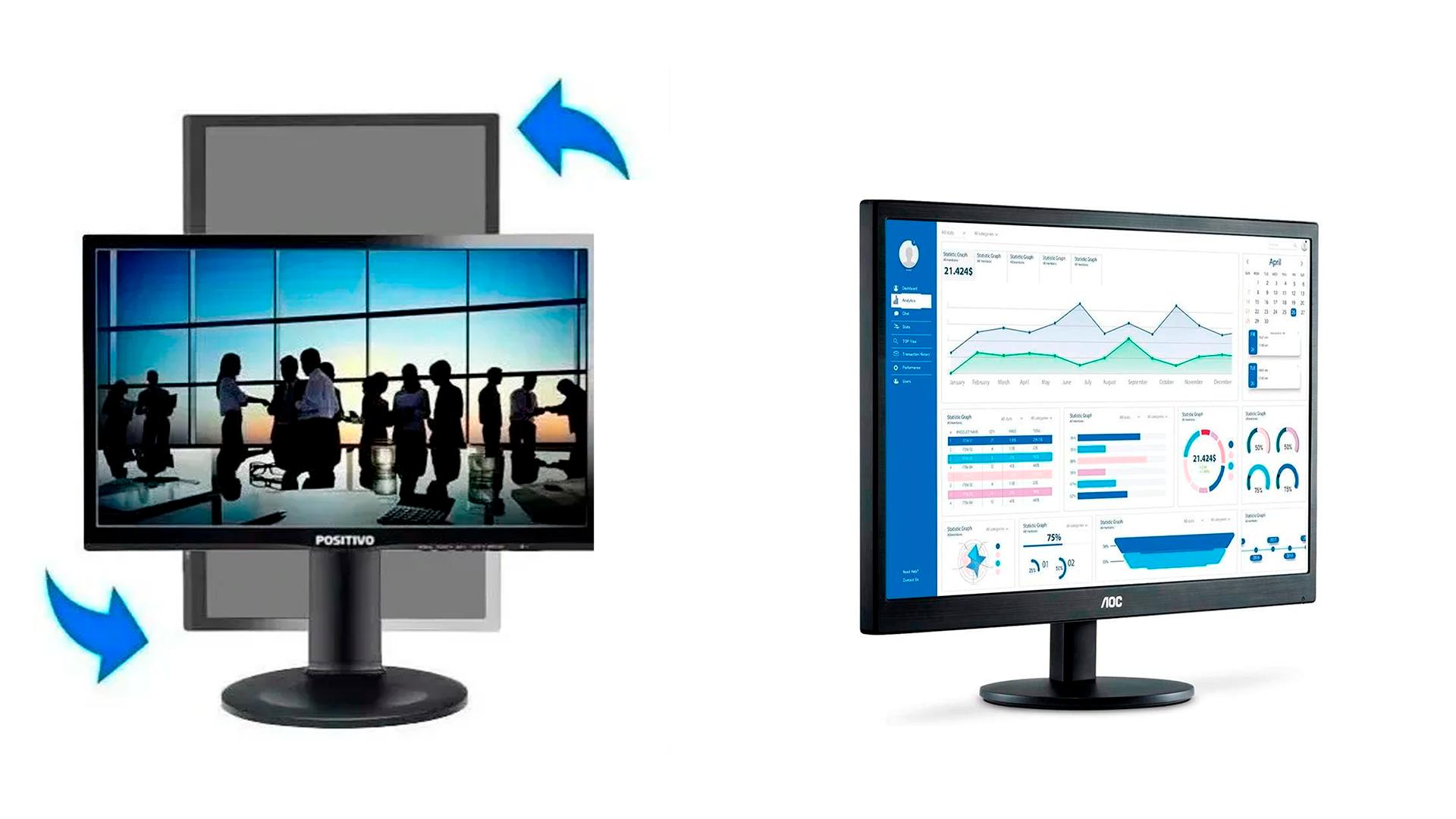 Veja a comparação do monitor da Positivo 22MP55PQ e o monitor AOC M2470SWH2 (Foto: Divulgação/Positivo e AOC)