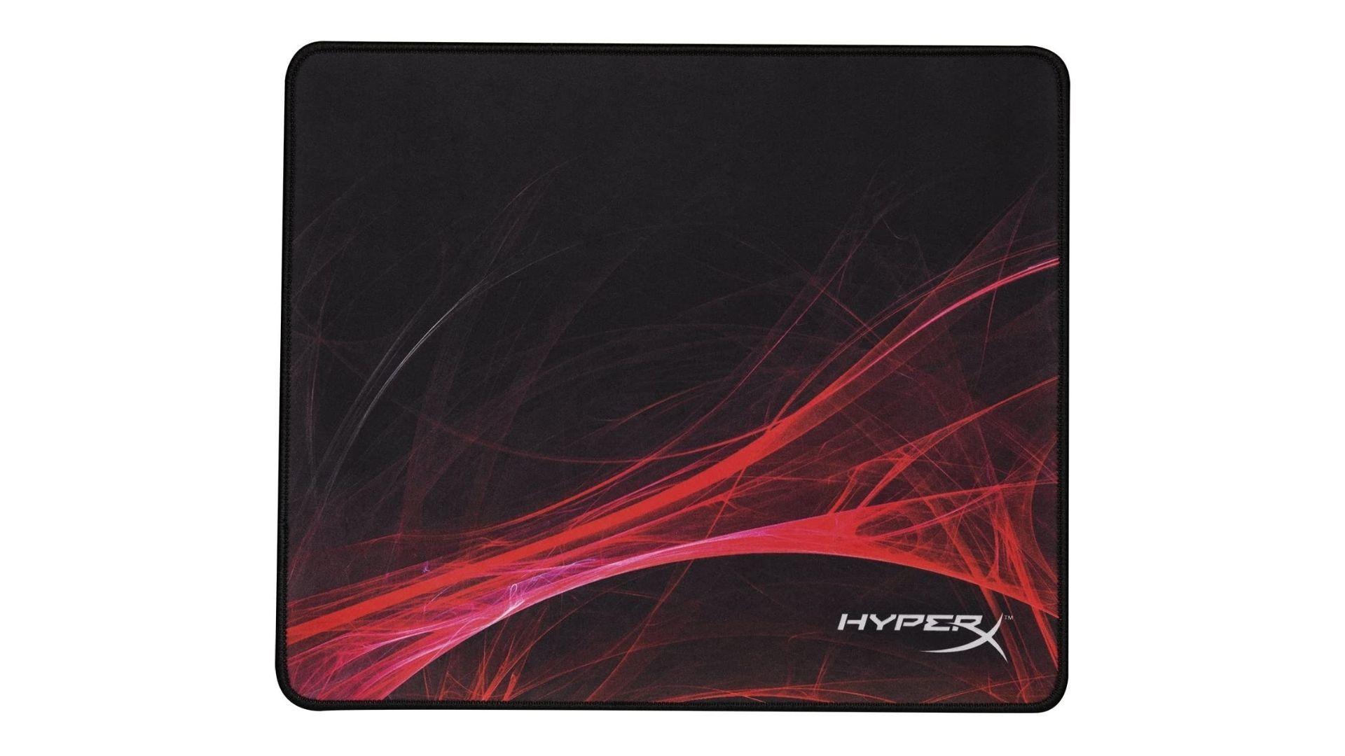Mouse Pad HyperX Gamer Fury S preto e vermelho no fundo branco