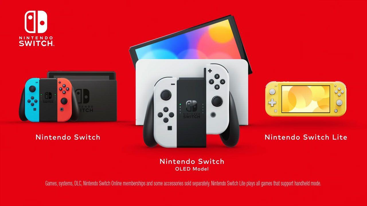 Nintendo Switch, Nintendo Switch OLED e Nintendo Switch Lite em fundo vermelho.