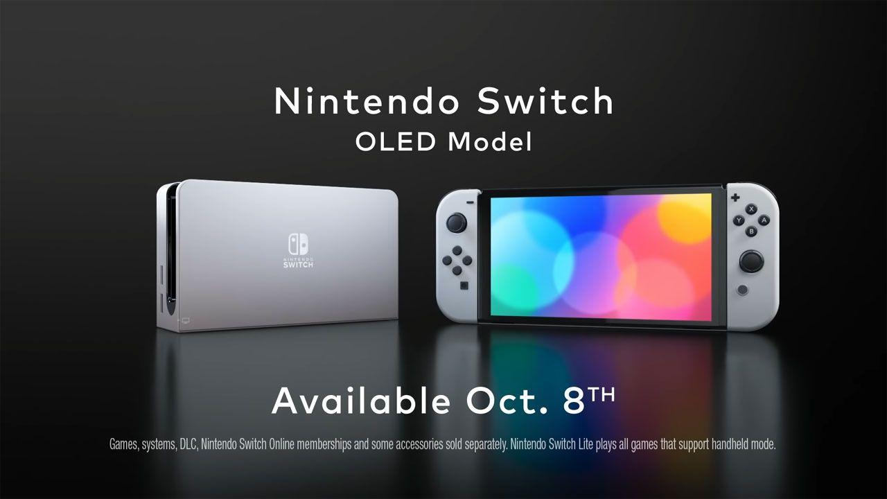 Estrutura para conectar o Nintendo Switch OLED à TV ao lado do console na versão portátil, com fundo preto e anúncio de vendas a partir do dia 8 de outubro.