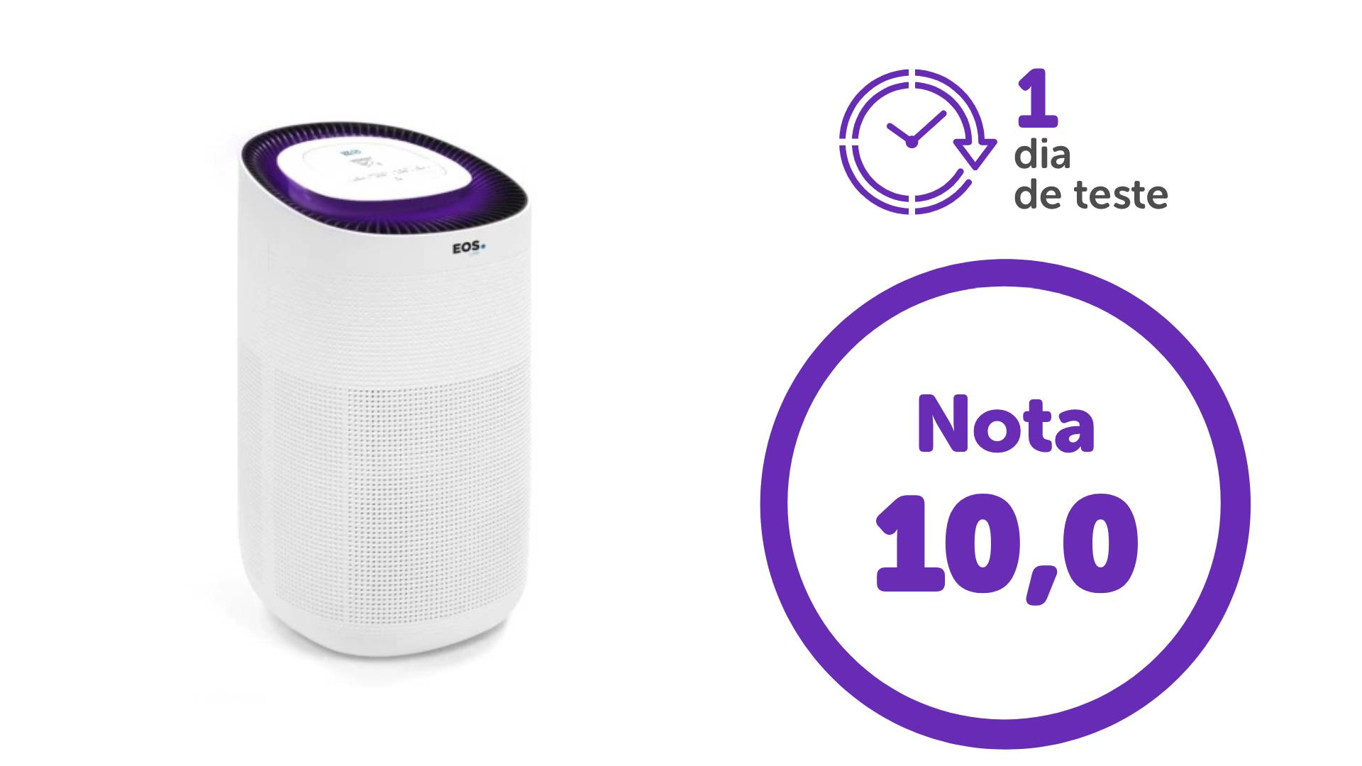 Imagem com foto do purificador, a nota 10 e a indicação de um dia de teste