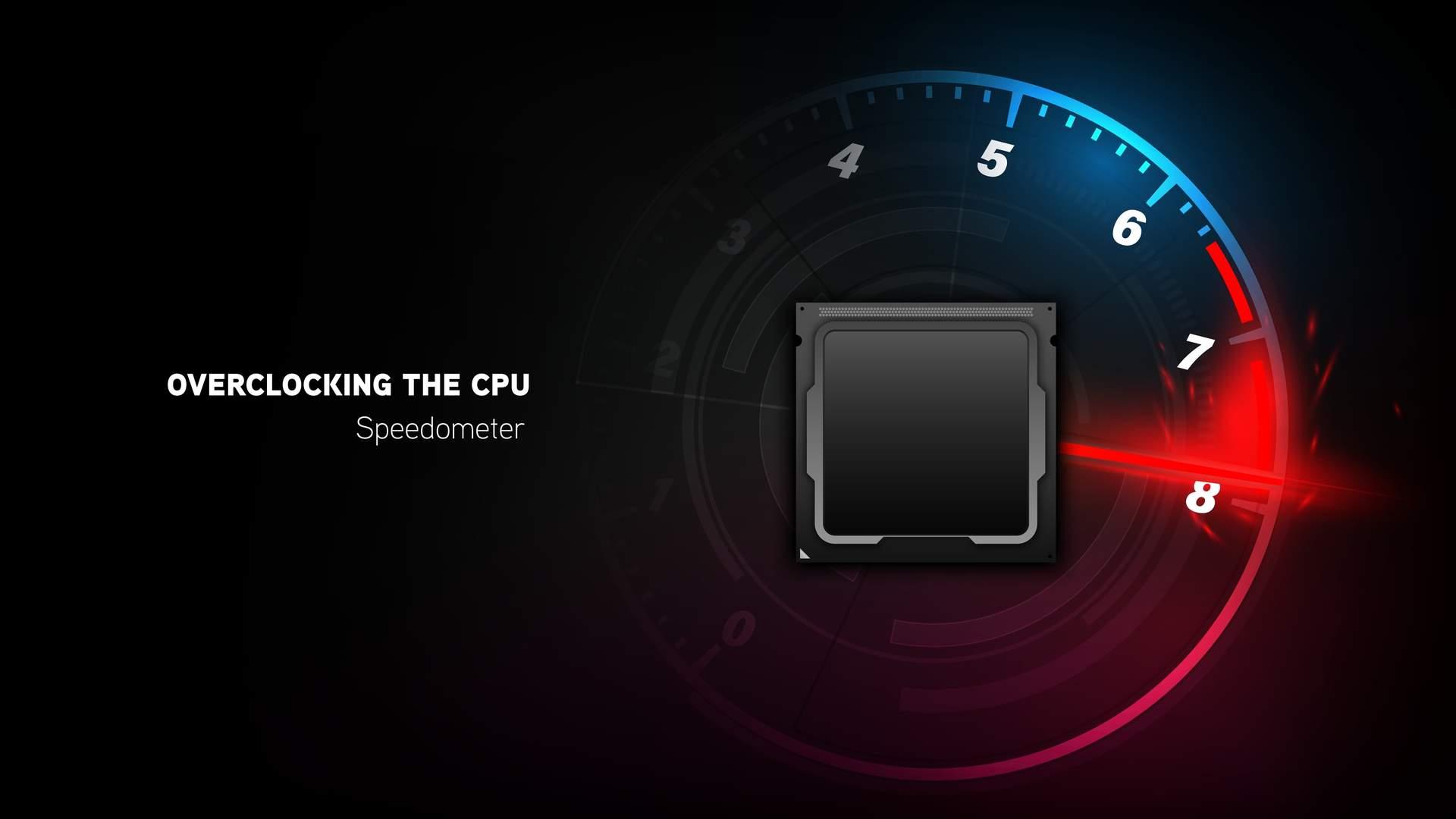Ilustração em fundo preto mostrando silhueta de um processador rodeada por um acelerômetro apontando para o último nível