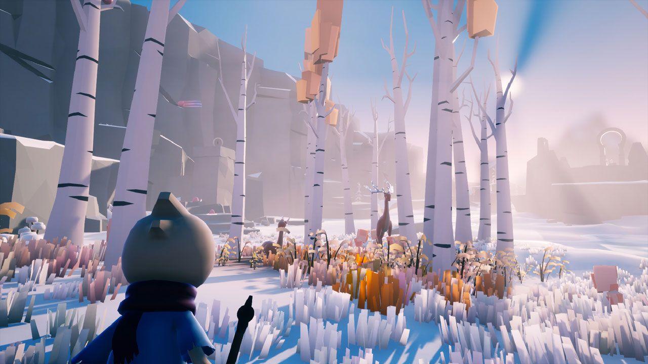 Captura de jogo que mostra personagem encarando uma floresta cheia de neve em Omno