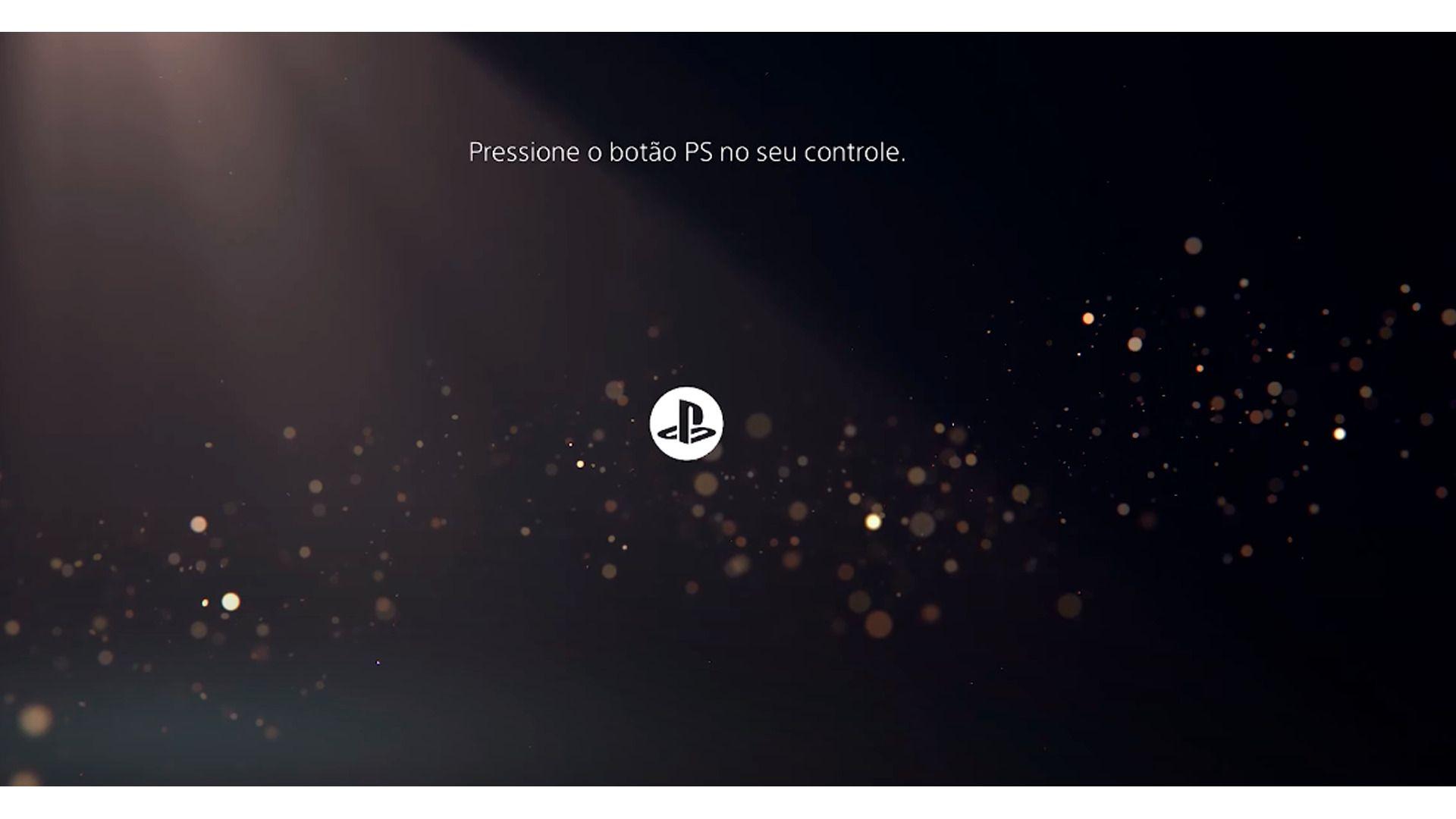 <em>Pressione o botão indicado para iniciar o processo de criação de conta no PS5 (Foto/Hugo Iwaasa)</em>