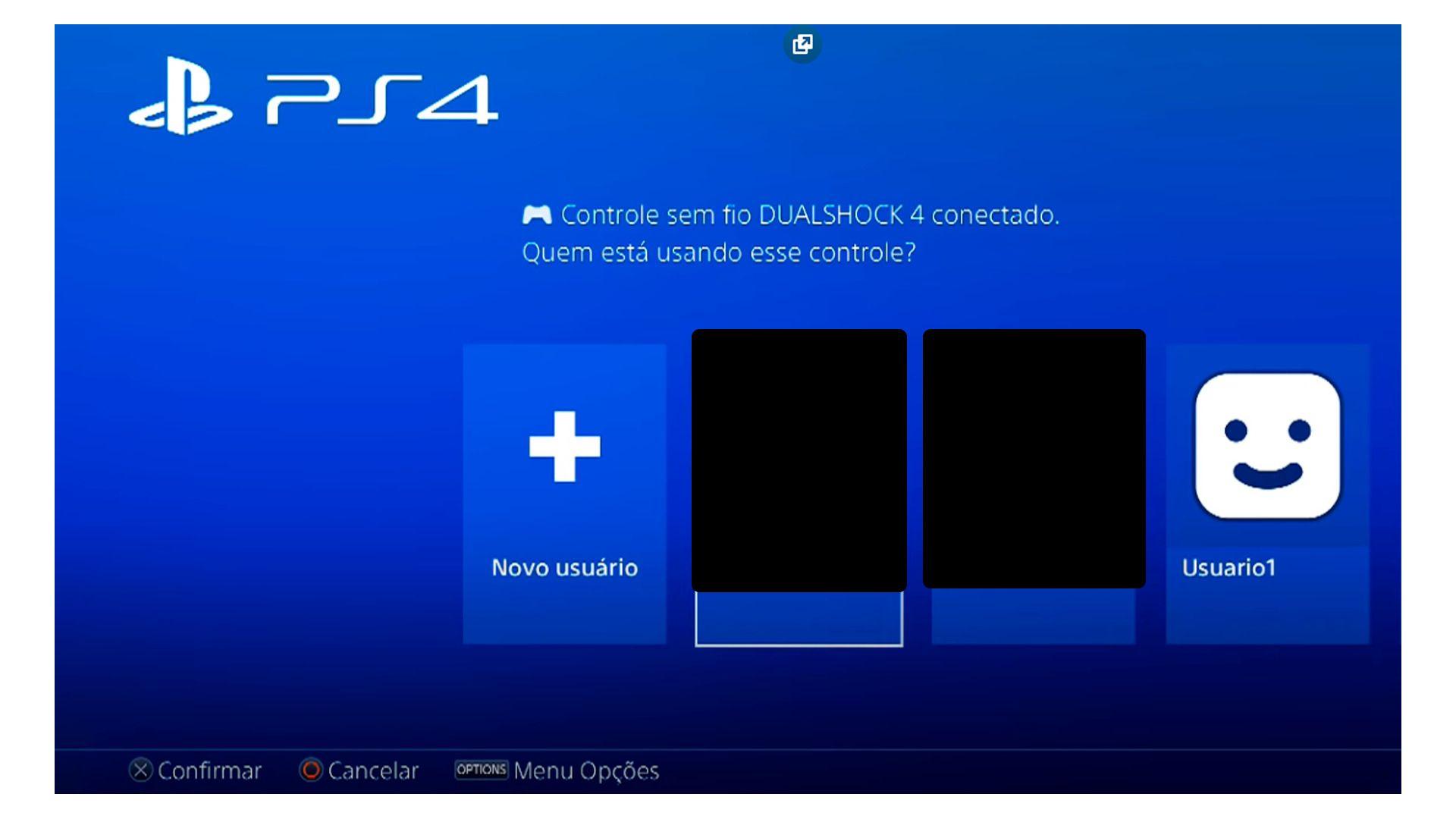 Escolha Novo Usuário para iniciar o cadastro na Playstation Store no PS4 (Foto/Hugo Iwaasa)