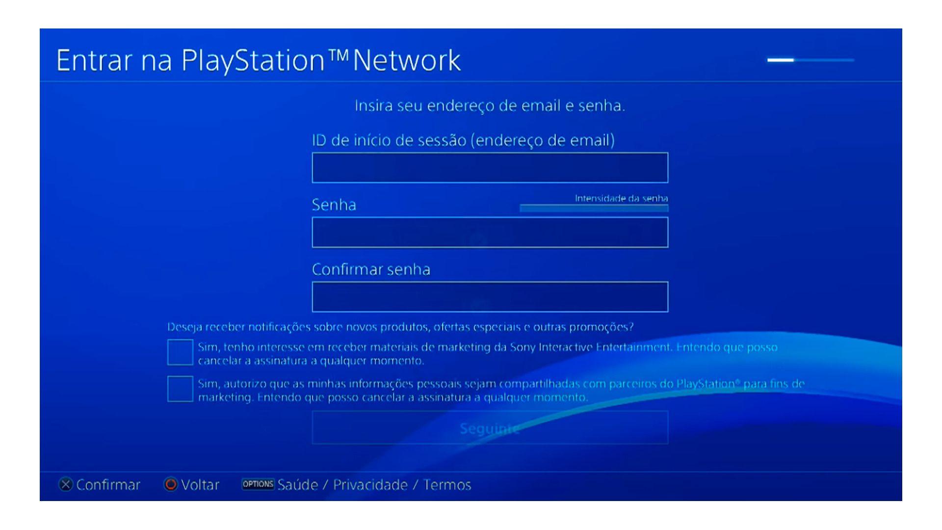 Escolha o e-mail e a senha da sua conta da Playstation Store (Foto/Hugo Iwaasa)