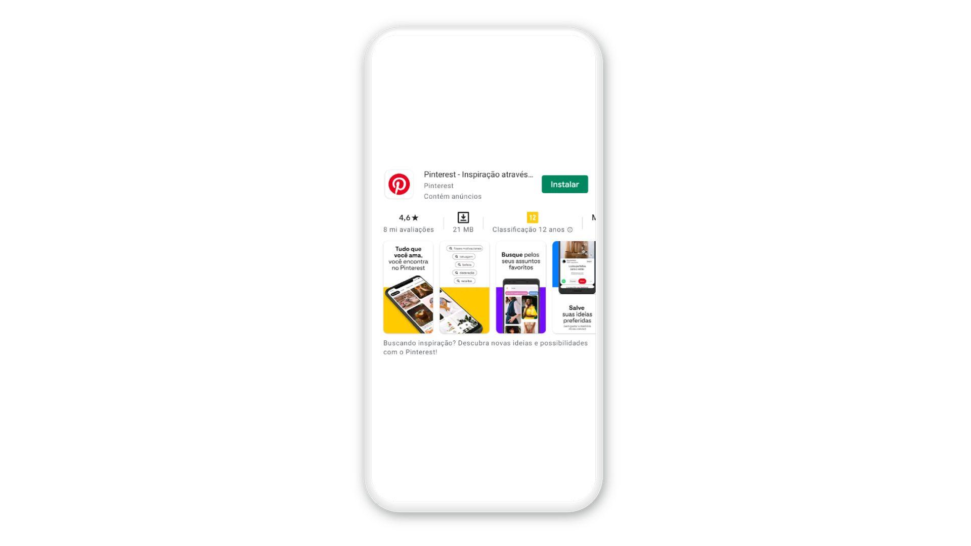 O Pinterest pode ser baixado em celulares iOS e Android (Imagem: Reprodução)