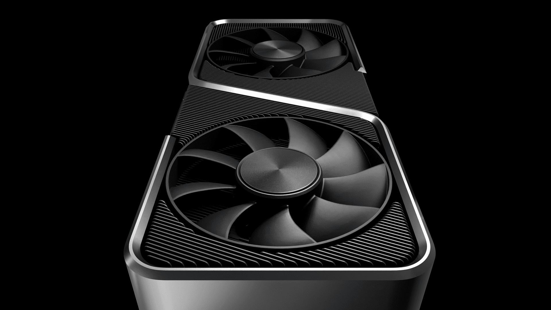 Placa de vídeo NVIDIA GeForce RTX 3070 na vertical em fundo preto.