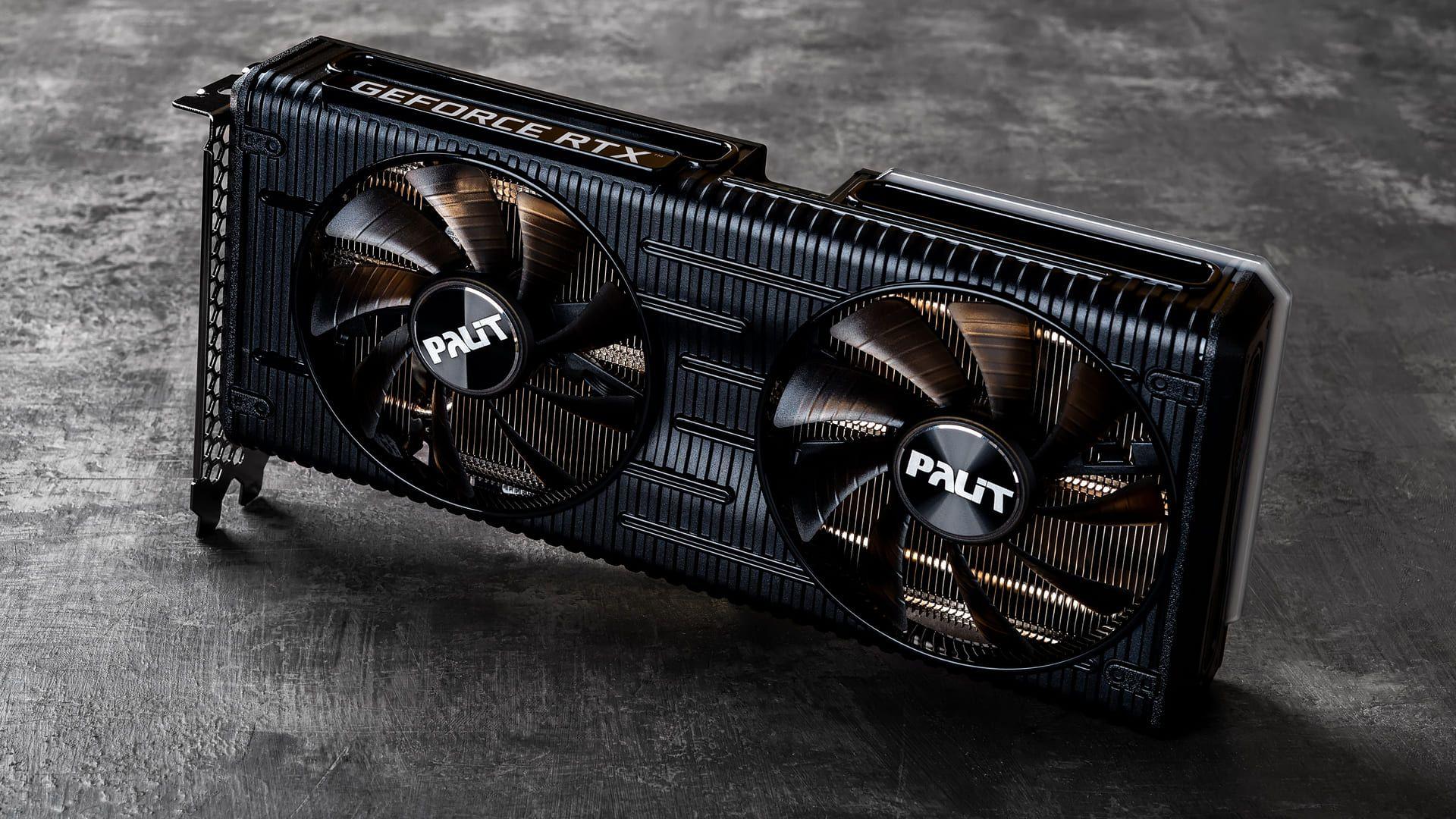 Placa de vídeo Palit Nvidia Geforce RTX 3060 Ti apoiada em um chão cinza.