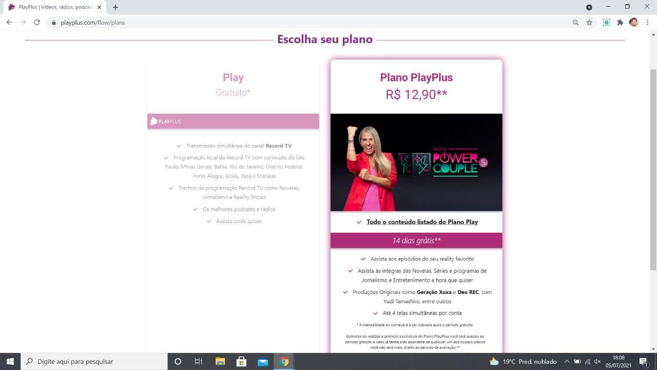 PlayPlus tem plano gratuito e plano com mensalidade (Foto: Reprodução)