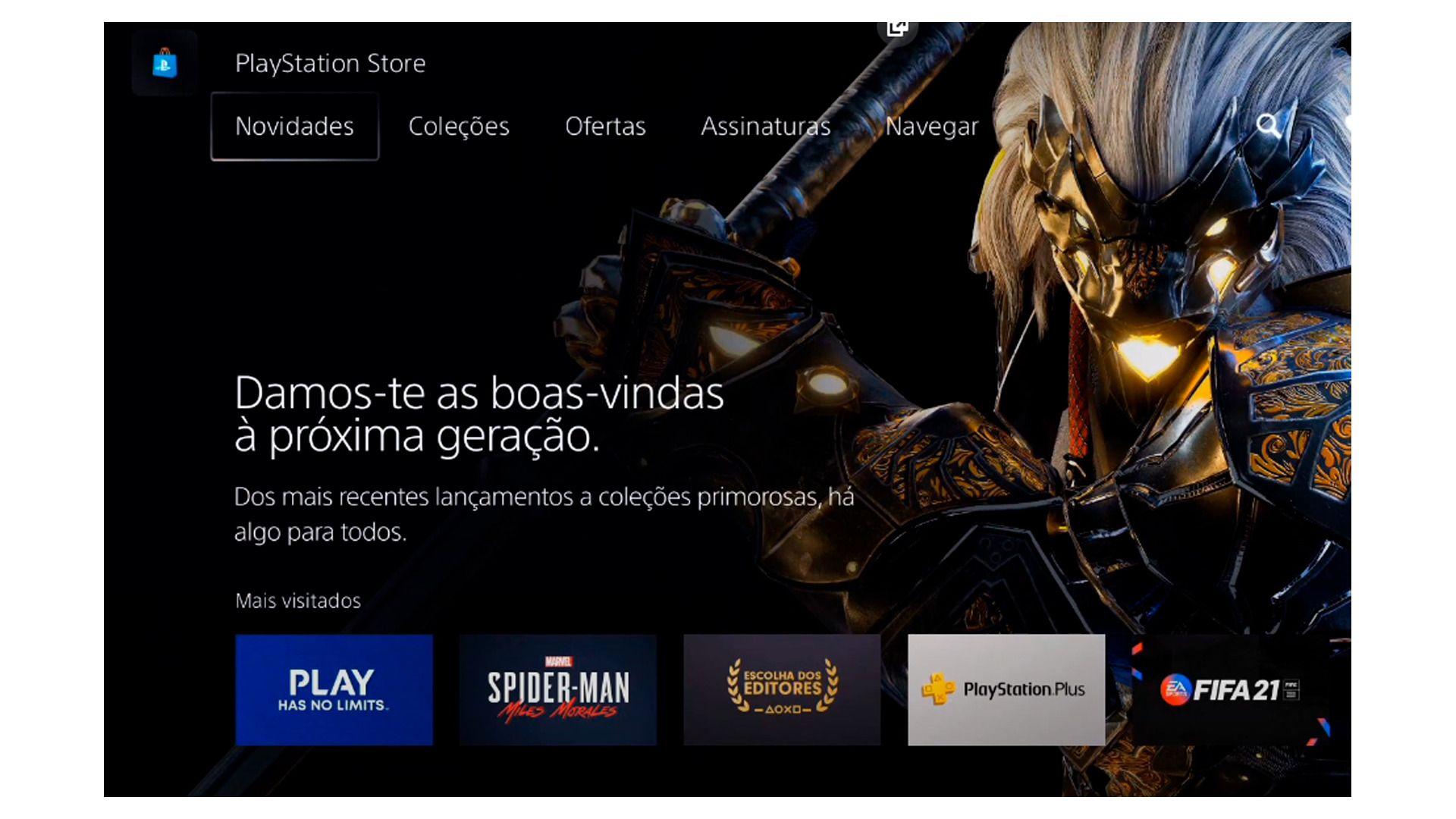 A tela inicial da Playstation Store mostra games destaques (Foto/Hugo Iwaasa)