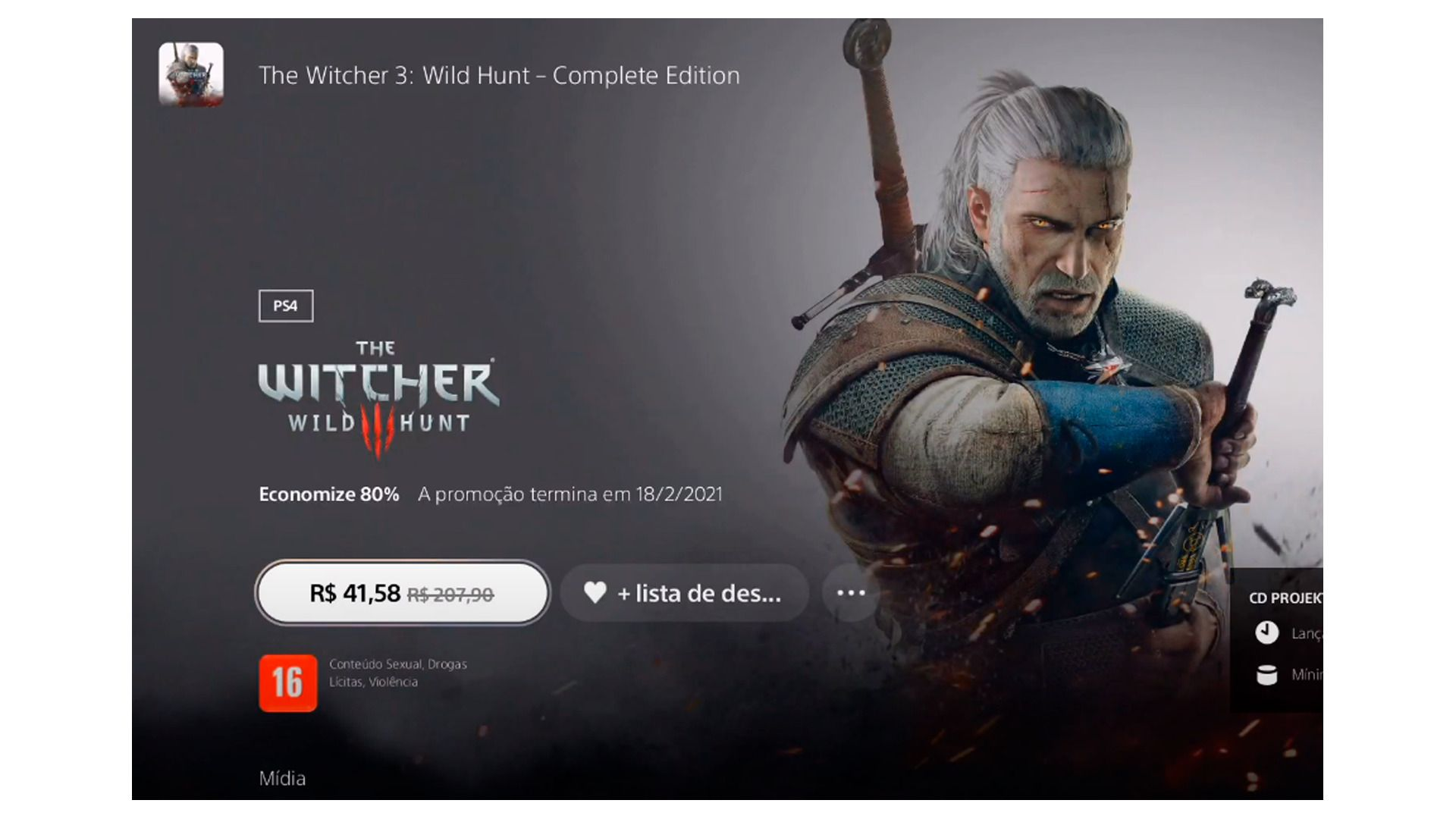 Clique sobre o valor para comprar o game (Foto/Hugo Iwaasa)