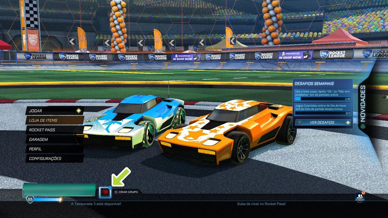 Para realizar trading, Rocket League exige que o outro usuário esteja em sua lista de amigos e em um grupo (Reprodução: Redação Zoom)