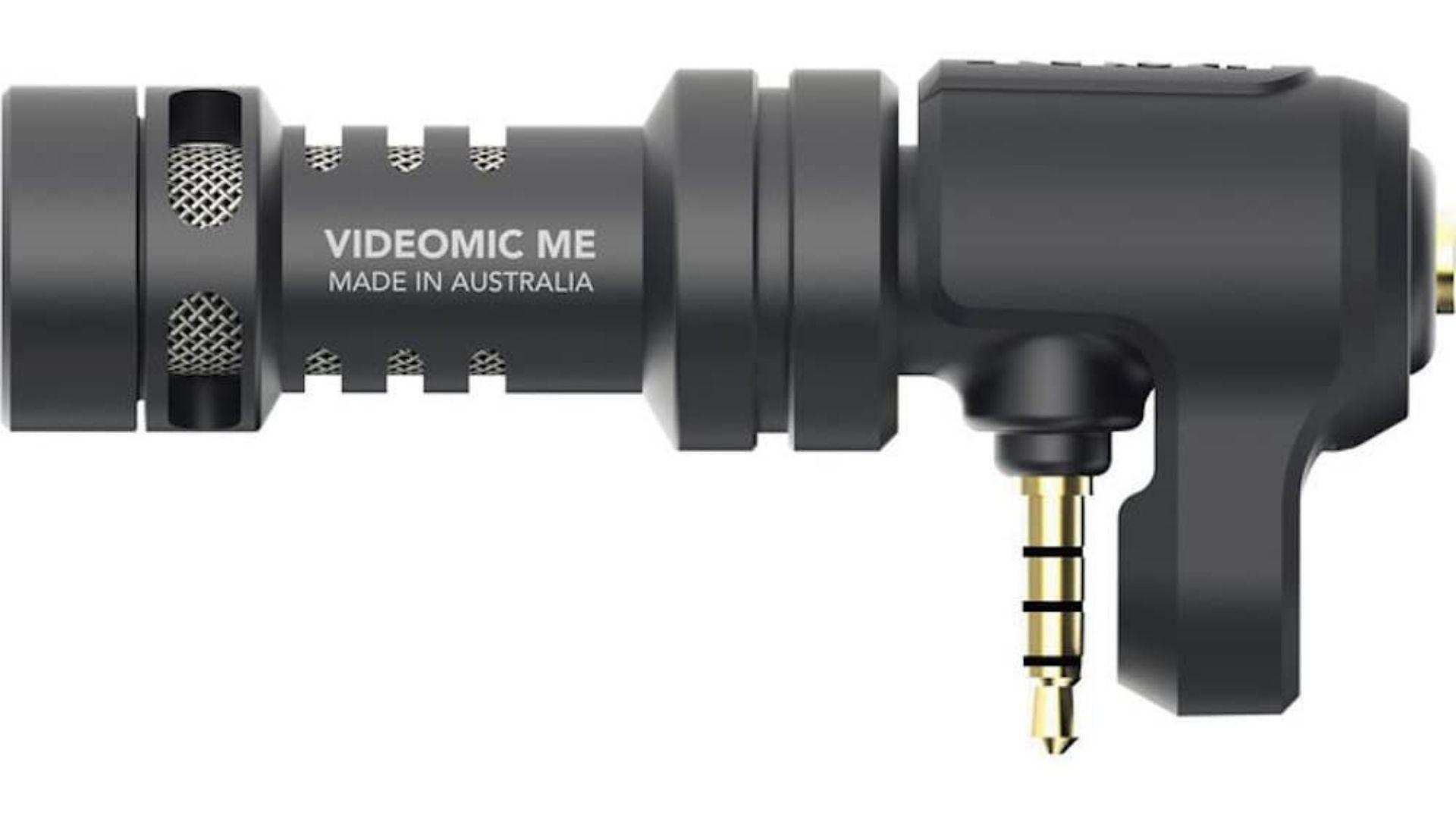 Microfone para celular escrito Videomic Me Made in Australia em fundo branco