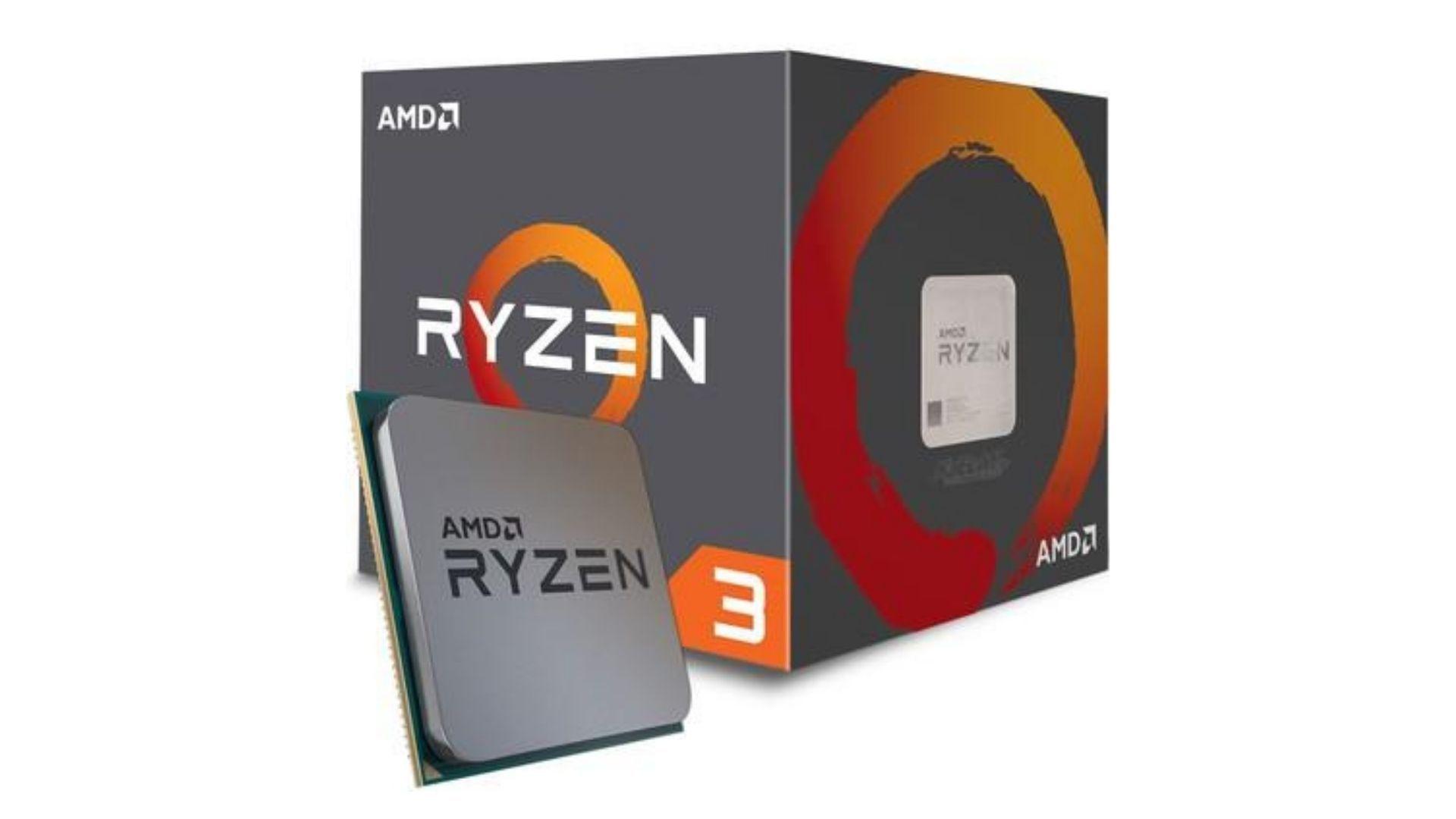 Caixa do processador AMD Ryzen 3 com o modelo a frente