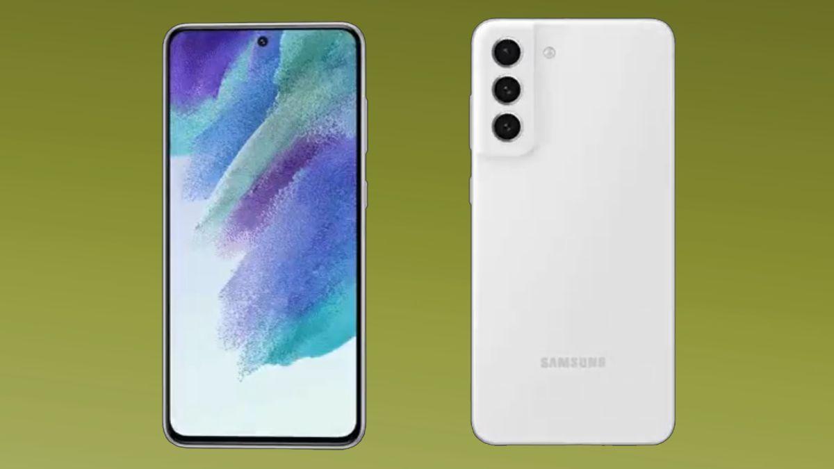 Celular Samsung Galaxy S21 FE branco frente e verso em fundo verde claro