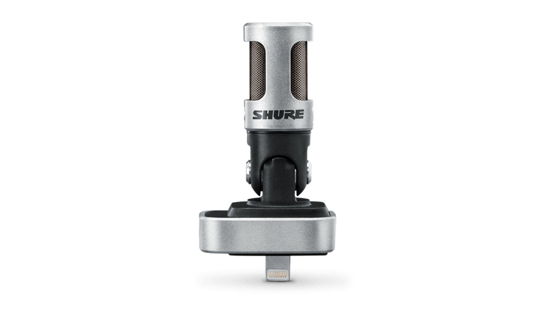 Microfone para celular cinza e preto da marca Shure em fundo branco