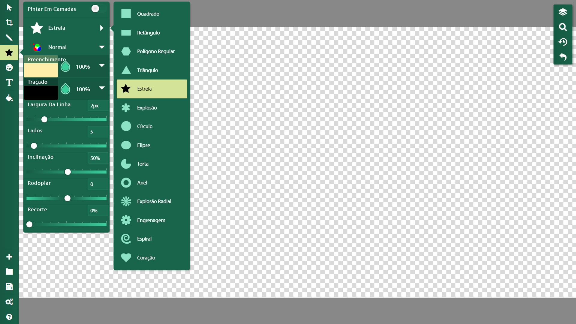 Captura de tela do SketchPad mostra ferramentas