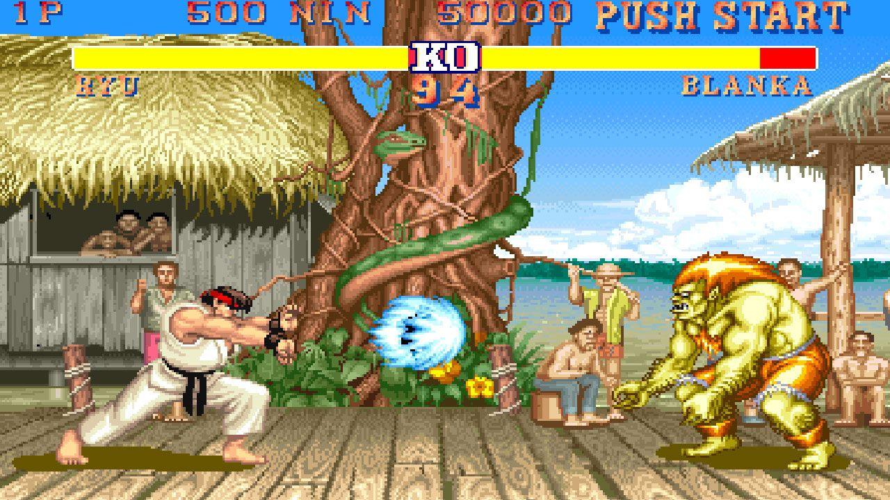 Duelo entre Ryu e Blanka no Street Fighter 2