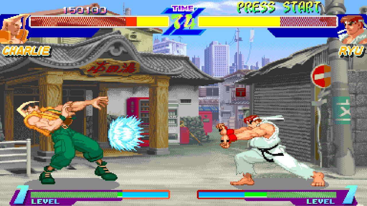 Duelo entre Charlie e Ryu no Street Fighter Alpha: Warriors' Dreams
