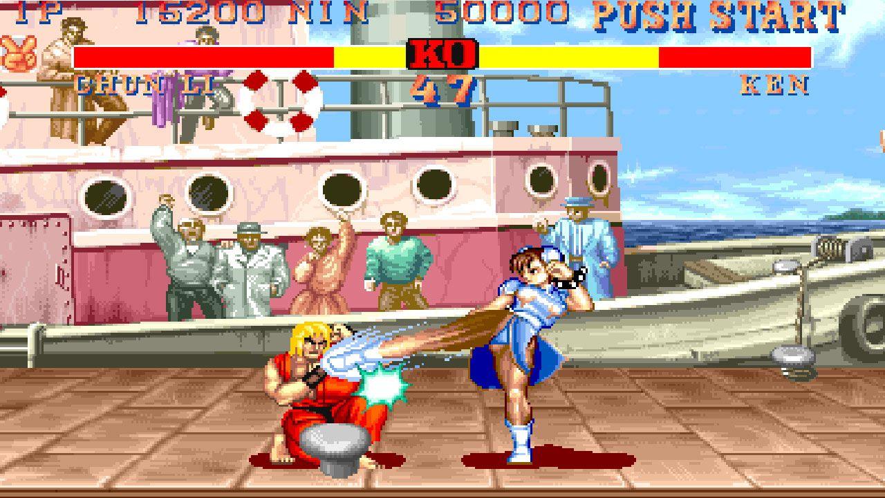 Duelo entre Chun Li e Ken no Street Fighter II: The World Warrior