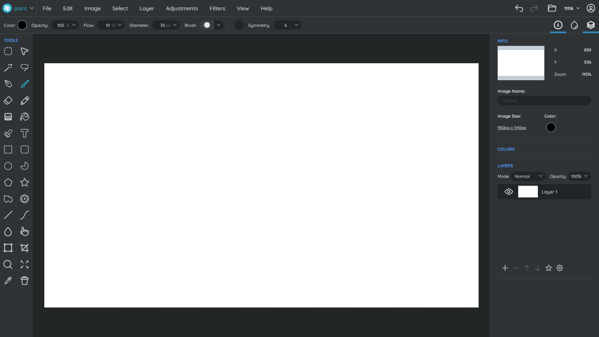 Captura do site SumoPaint com suas ferramentas